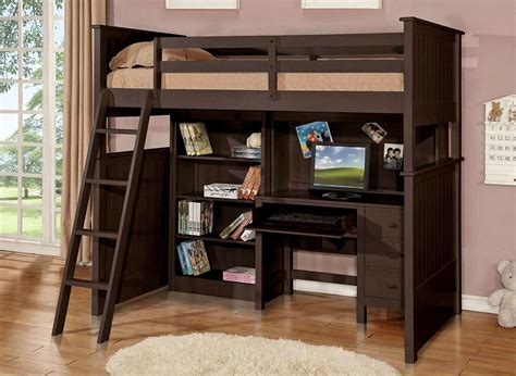 full size bed with desk underneath full size loft bed with desk and storage brown wooden