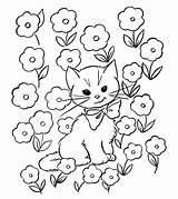 Coloring Cat Pages Printable Toddler Momjunction Colouring Adults Field Flower Funny Animal Animals Easy Dog sketch template