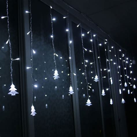 hanging window christmas lights christmas led snowflake tree hanging curtain fairy light string icicle window eu ebay