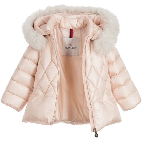 Moncler  Baby Girls Pink Down Padded Coat with Fur Trim