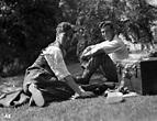 [Charles Chaplin, Louis and Edwina Mountbatten on the set ...