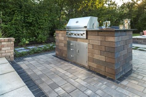 unilock grill island artline patio with a lineo wall grill island photos