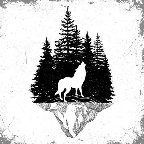 wildlife tattoo template wolf forest icons silhouette