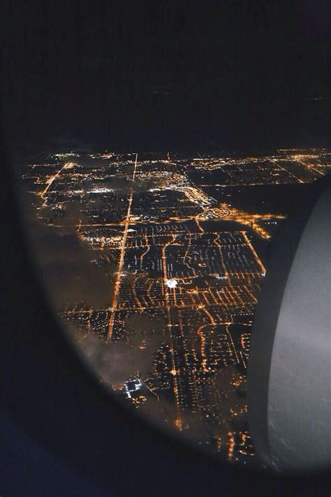 plane view night time lights   plane window