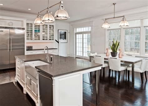 pictures of kitchen islands with sinks gray granite countertops