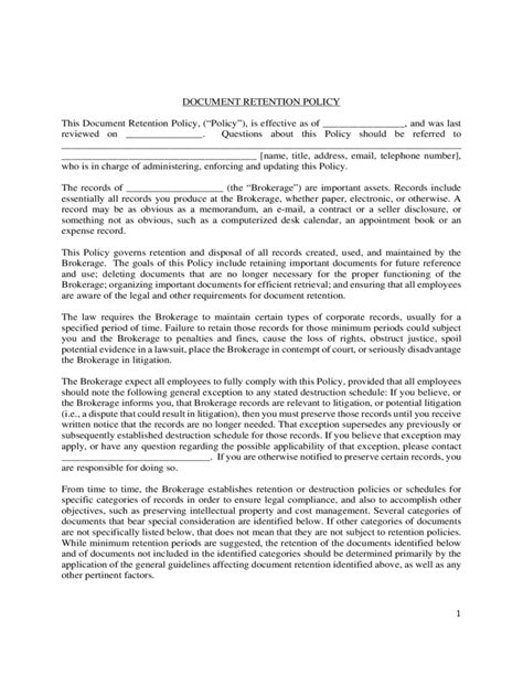 Document Retention Policy Template by Document Retention Policy Template Sle Free