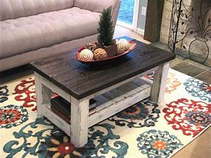 Reclaimed white rustic coffee table with brown top for White coffee table with brown top