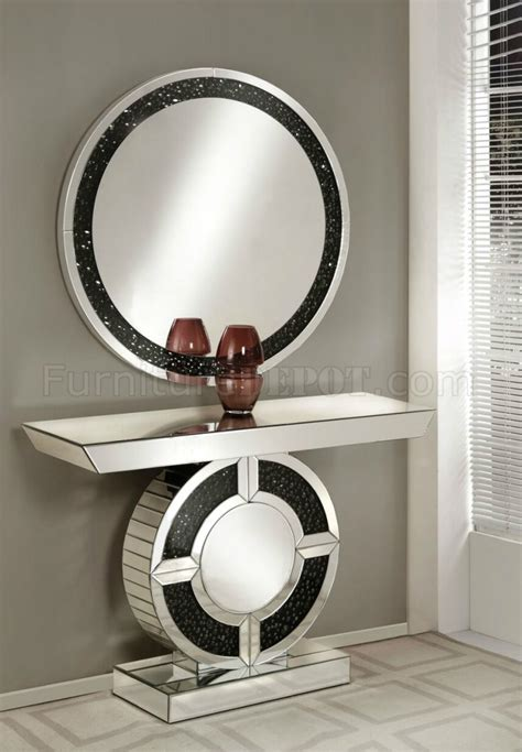 noor console table mirror set   mirror black