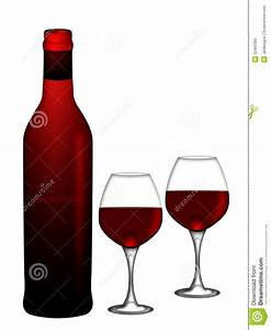 Red Wine Bottle And Two Glasses White Background Stock ...