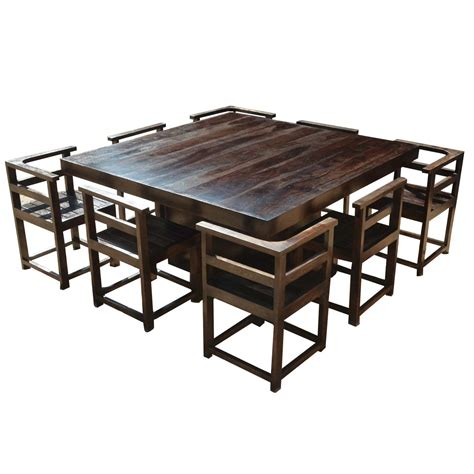wooden chairs for dining table modern rustic solid wood 64 quot square pedestal dining table