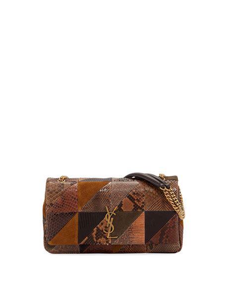 saint laurent jamie medium ysl python patchwork shoulder bag neiman marcus