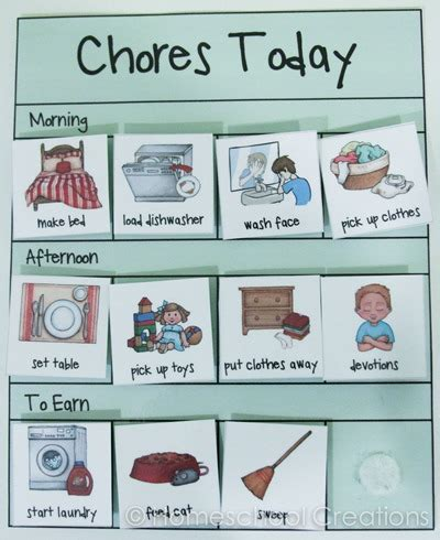 free preschool chore charts subscriber freebie 749 | Preschool chore charts with pictures 2