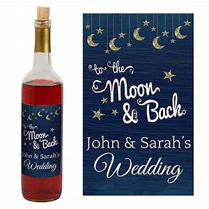 To The Moon and Back Wine Bottle Labels - Shindigz
