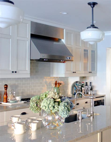 gray subway tile backsplash kitchen traditional  white