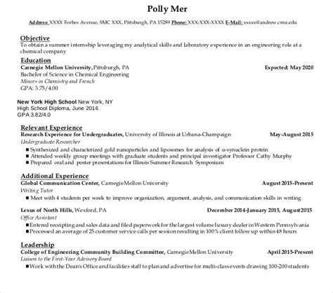 Undergraduate Resume Template Doc : 30+ Best Resume ...