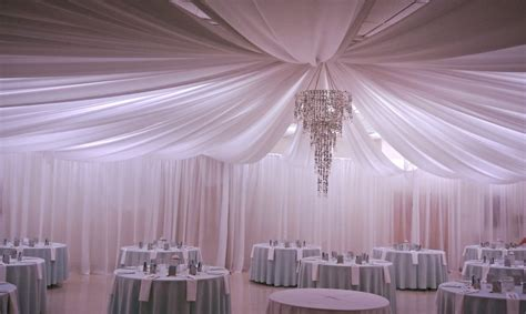 Wedding Drapery Rental by Indoor Hotel White Satin Ceiling Drapery Decoration