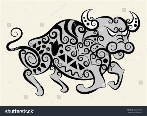 decorative flower and leaf designs decorative buffalo bull flora ornaments leaf stock vector 100865956 shutterstock
