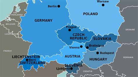 Mapa de los países de Europa Central