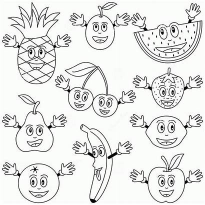 Coloring Fruits Vegetables Printable Pages Worksheets Preschool