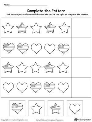 preschool patterning worksheets kindergarten patterns printable worksheets 608