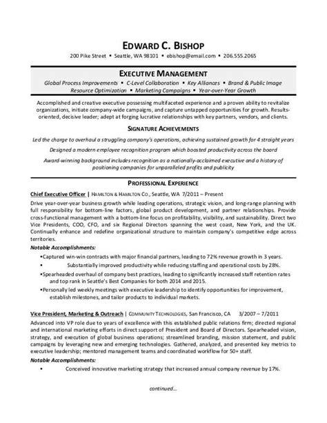 executive manager resume sle 52