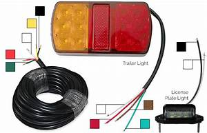 Trailer Tail Lights Kit 2x License Plate 5 Core Cable 12v