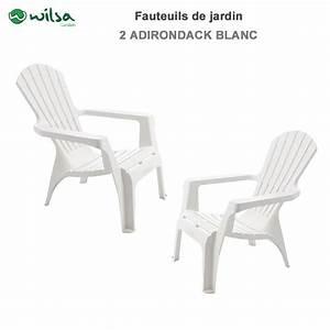Fauteuil De Jardin Blanc : lot de 2 fauteuils adirondack blanc600065 wilsa garden ~ Teatrodelosmanantiales.com Idées de Décoration