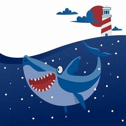 Shark Cartoon Underwater Fish Vector Dusky Illustrations