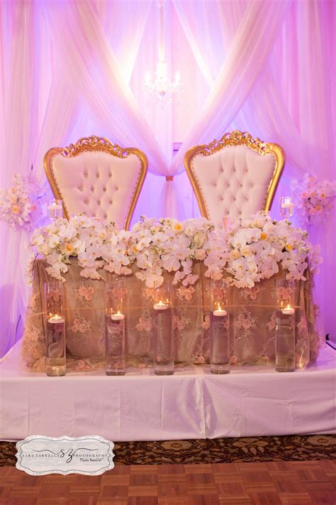 Sweetheart table with our King and Queen chairs #romance #