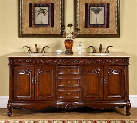 72 inch travertine stone top bath cabinet bathroom double