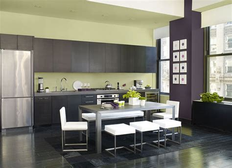 cool contemporary kitchen  benjamin moores chambourd