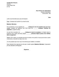 modèle transfert contrat travail exemple gratuit de lettre demande transfert contrat bail