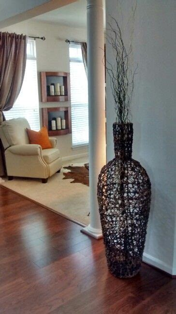 large wicker floor vase  branches home decor