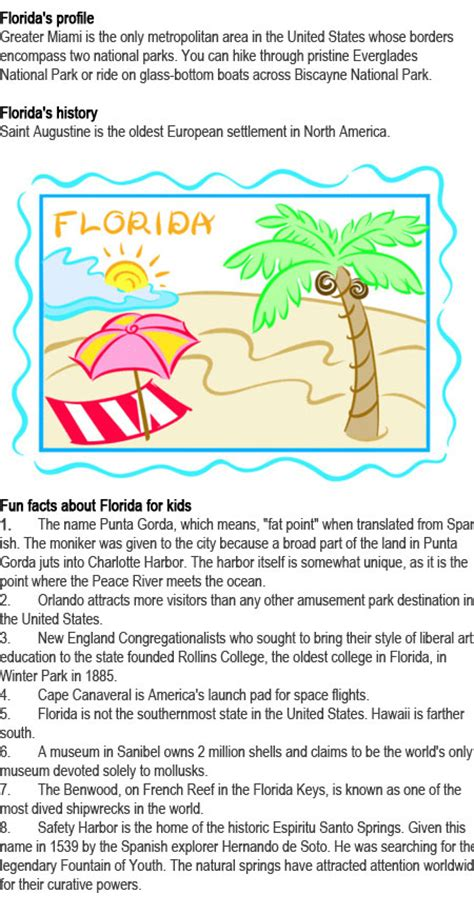fun facts about florida for kids childhood education