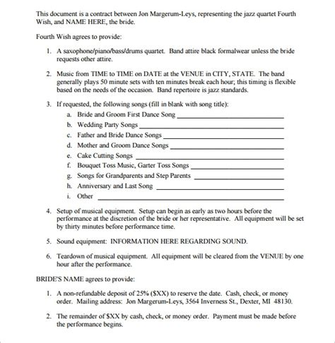 band contract template   samples examples format
