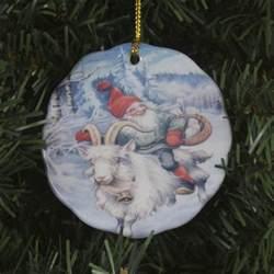 scandinavian swedish ceramic ornament lars carlsson tomte on goat 181b ebay