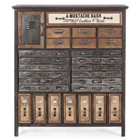 piccole cassettiere in legno cassettiera industrial legno e zinco mobili industrial