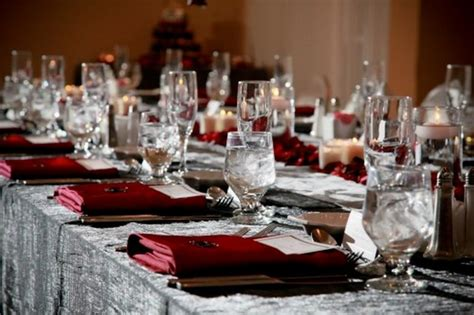 red  silver wedding inspiration  linentablecloth