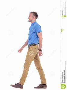 Side Of Casual Young Man Walking Stock Photo - Image: 46619088