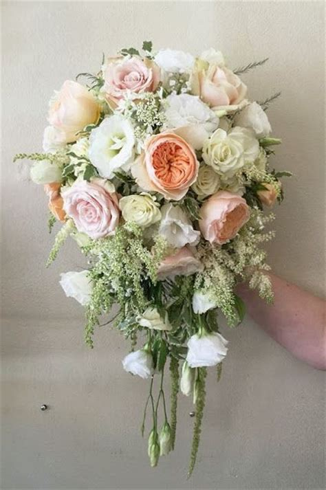 The Enchanted Florist Cascade Bridal Bouquet With Peach