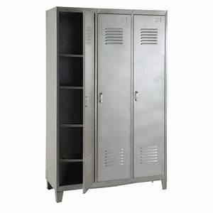 Kleiderschrank 120 Cm : kleiderschrank spind aus grauem metall spind kleiderschr nke und metall ~ Indierocktalk.com Haus und Dekorationen
