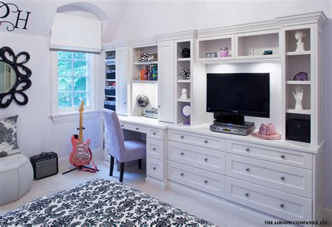 bed with built in desk wall unit with desk bedroom traditional with baskets