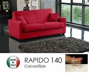 Canape Convertible Rapido 140cm Dreamer Tissu Tweed Cross
