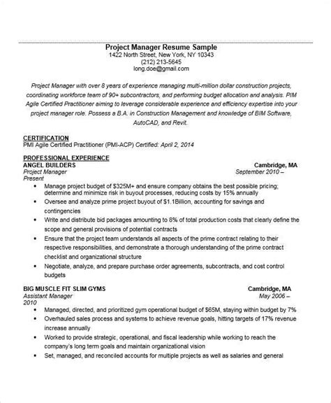 Experienced Project Manager Resume by 52 Manager Resume Exle