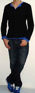 Black Long Sleeve Button T-shirt Blue Long Sleeve Button T-shirt Dark Blue Jeans Blue Sneakers ...
