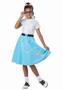 Blue 50u0026#39;s Poodle Skirt for Girls