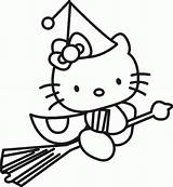 Coloring Witch Pages Preschool Hello Kitty Halloween Colouring Printable Witches sketch template