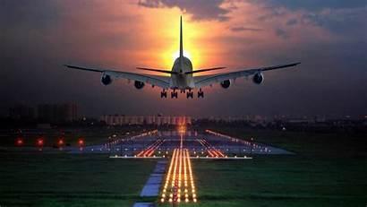 Runway Landing Airplane Night Aeroplane Wallpapers Desktop