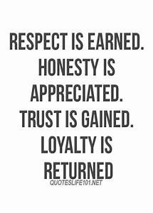 Life quotes: Respect is earned honesty is appreciated ...