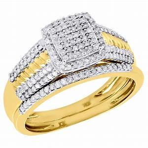 diamond wedding bridal set 10k yellow gold cluster pave With 10k yellow gold wedding ring set